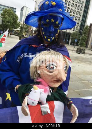 Stop Brexit march  - Manchester City centre 1st October 2017- Anti Brexit demonstrators gather near the Conservative - Stock Photo