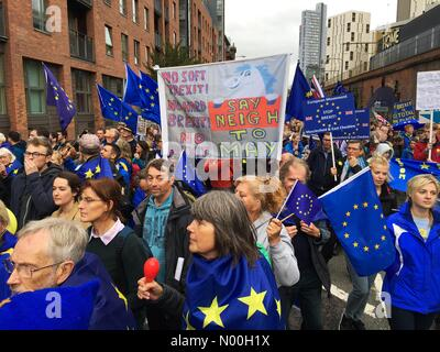 Stop Brexit march  - Manchester City centre 1st October 2017 - Anti Brexit demonstrators gather near the Conservative - Stock Photo
