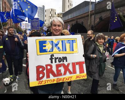 Stop Brexit march  - Manchester 1st October 2017- Anti Brexit demonstrators gather near the Conservative Party Conference - Stock Photo
