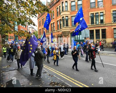 Stop Brexit march  - Manchester 1st October 2017 - Anti Brexit demonstrators gather near the Conservative Party - Stock Photo