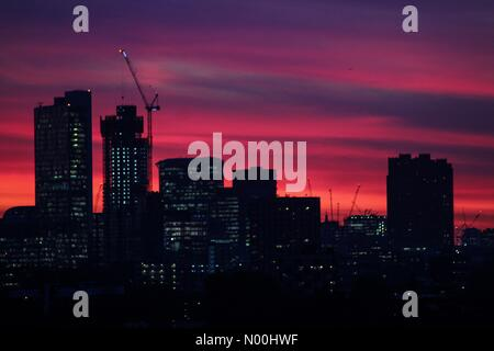 London, UK. 17th Nov, 2017. UK Weather: Fiery sunset over Illuminated City of London Credit: Dawud Marsh/StockimoNews/Alamy - Stock Photo