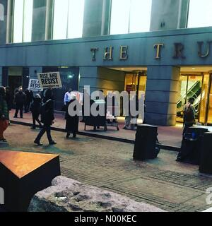 New York, New York, USA. 15th Feb, 2018. Trump Building protest, Wall Street, February 15, 2018. Credit: audrey780/StockimoNews/Alamy - Stock Photo