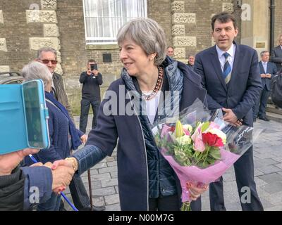 Theresa May the British prime minister thanking the people of salisbury out side the Guildford today - Stock Photo