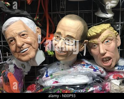 Mexico. 8th May 2018. Masks of Mexican presidential candidates Andres Manuel Lopez Obrador (AMLO) from Morena party, left, Ricardo Anaya Cortes, from PAN party and United States President Donald Trump in a market in Mexico Credit: Chico Sanchez/StockimoNews/Alamy Live News - Stock Photo