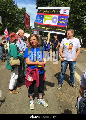 Brexit People's Vote march London UK - Saturday 23rd June 2018 London - Thousands of demonstrators gather to march through Whitehall to demand a public vote on the final Brexit deal - Stock Photo