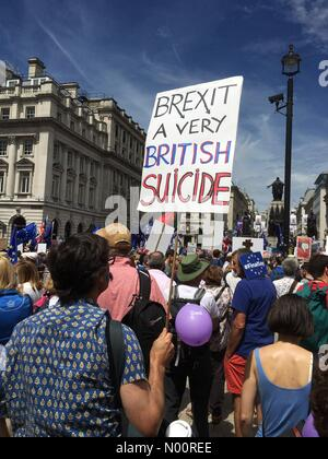 Brexit People's Vote march London UK - Saturday 23rd June 2018 London - Thousands of demonstrators march through Whitehall to demand a public vote on the final Brexit deal - Stock Photo