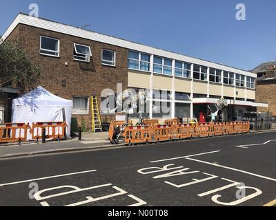 Production and lighting set up in preparation for filming a scene from Spider-Man far from home, Bishops Stortford, Hertfordshire - Stock Photo