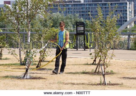 London, UK. 23rd July 2018. Hot and sunny day at Queen Elizabeth Olympic Park in Stratford. Credit: Marcin Rogozinski/StockimoNews/Alamy Live News - Stock Photo