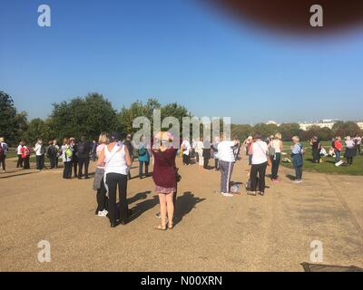 London, UK. 10th Oct 2018. Women gather for the One Voice protest against government's unjust method of raising their pension age - London, 10 October 2018 Credit: Aztec Images/StockimoNews/Alamy Live News - Stock Photo