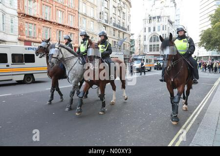 London, UK. 13th October 2018. Police operation to contain anti-nazi protestors in London's West End near Haymarket and Trafalgar Square on 13th October 2018 Credit: Colin Hart/StockimoNews/Alamy Live News - Stock Photo
