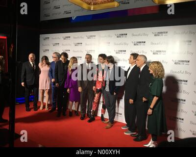 London, UK. 13th October 2018. Cast of a Beautiful Boy, opening night, Leicester Square, London Steve Carell, Timothée Chalamet and others Credit: Jack Lomond/StockimoNews/Alamy Live News - Stock Photo
