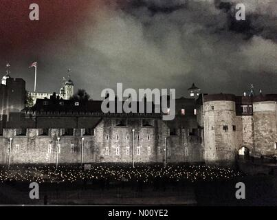 London, UK. 6th November, 2018. Beyond the Deepening Shadow, Tower of London Credit: whubball/StockimoNews/Alamy Live News - Stock Photo