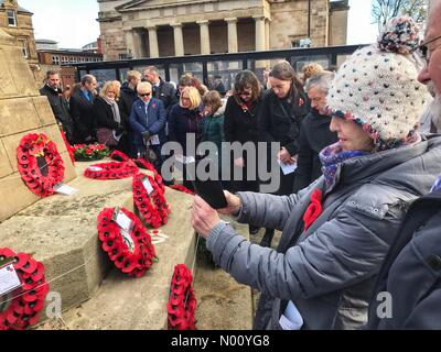 Remembrance Sunday - Hereford UK - Sunday 11th November 2018 - Hereford people gather to view the numerous wreaths after the Remembrance service - Stock Photo