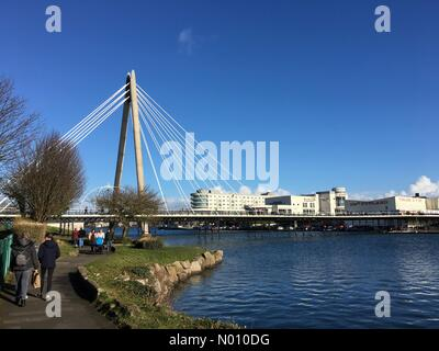 Merseyside, UK. 10th Feb 2019. UK Weather: Sunny afternoon in Southport. Pier and Marine Way bridge on a cold but sunny afternoon Credit: Lancashire Images/StockimoNews/Alamy Live News - Stock Photo