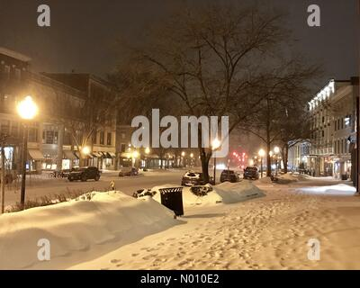 Saratoga Springs, New York, USA. 12th Feb 2019. Heavy snow arrives in Saratoga Springs, New York. Credit: Michael12345678 / StockimoNews/Alamy Live News - Stock Photo