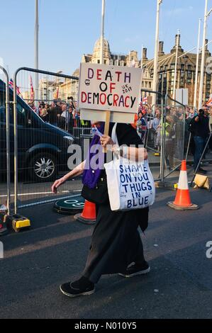 London, UK. 29th Mar, 2019. Mature female with Death of Democracy placard in Parliament square and supporting bag walks by during the Brexit betrayal march on the 29th of April 2019. Leave EU day, peaceful protest. London UK Credit: narrative22/StockimoNews/Alamy Live News Credit: narrative22/StockimoNews/Alamy Live News - Stock Photo