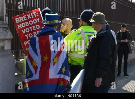 "Westminster, London, UK. 10th Apr 2019. Anti Brexit activist Steve Bray confronted by ""Leave"" supporter opposite of the Houses Of Parliament Credit: Thomas Krych/StockimoNews/Alamy Live News - Stock Photo"