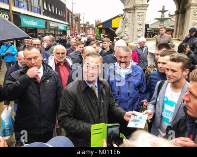 Nigel Farage Brexit Party in Dudley UK - Dudley West Midlands UK Friday 17th May 2019 - Nigel Farage leader of the Brexit Party meets the public in the build up to the European elections. - Stock Photo
