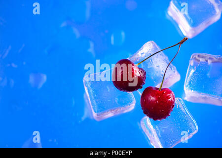 Fresh cherries on a stack of ice cubes close-up on a bright blue background. Refreshing summer beverage concept with copy space - Stock Photo