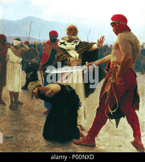 . Français : Saint Nicholas of Myra saves three innocents from death  . circa 1890.   Ilya Repin  (1844–1930)      Alternative names Russian: ???? ???????? ?????  Description Russian-Ukrainian painter, sculptor and essayist  Date of birth/death 24 July 1844 (in Julian calendar) 29 September 1930  Location of birth/death Chuhuiv Repino  Work location Saint Petersburg, Moscow, Chuhuiv  Authority control  : Q172911 VIAF:?30329364 ISNI:?0000 0001 2277 9324 ULAN:?500024225 LCCN:?n79075231 WGA:?REPIN, Ilya Yefimovich WorldCat 94 St Nicholas Repin - Stock Photo