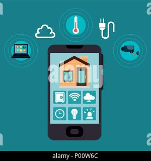 smartphone controlling smart home - Stock Photo