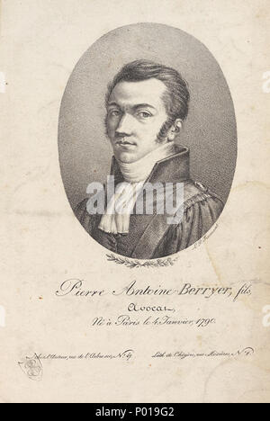 . Antoine Pierre Berryer (1790-1868)  . Contemporary portrait. Louis Pierre Fromant (fl. 1804-1831) 4 AntionePierreBerryer - Stock Photo