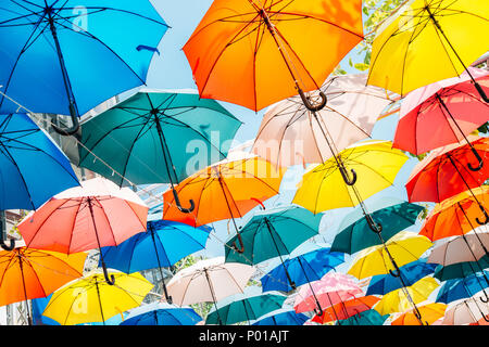 Colorful umbrella background in Taichung, Taiwan - Stock Photo