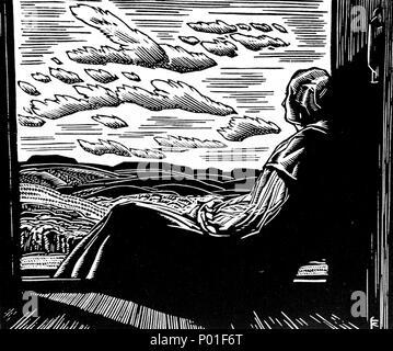 . English: Franklin Carmichael, untitled, 1944, wood engraving on paper, 12 x 15.2 cm  . 1944. Franklin Carmichael 1 Franklin Carmichael - Wood Engraving - Stock Photo