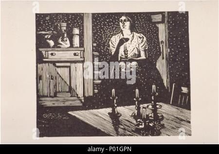 . English: Franklin Carmichael, Untitled, c. 1944, wood engraving, 8 x 9.7 cm  . 1944. Franklin Carmichael 1 Franklin Carmichael, Untitled wood - Stock Photo