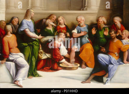 Painting; oil on panel; overall: 35.9 x 52.1 cm (14 1/8 x 20 1/2 in.); 7 Christ Washing the Disciples' Feet E10791 - Stock Photo