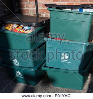Recycling boxes, Blandford, Dorset, England, UK - Stock Photo