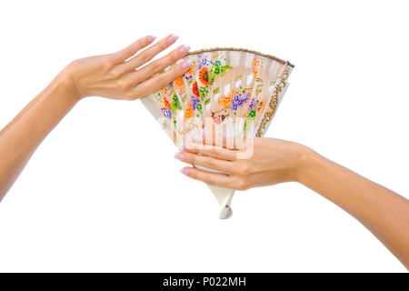 Beautiful fan in woman hand isolated on white background - Stock Photo