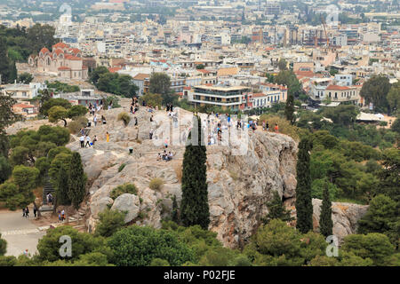 The Areopagus hill, view from Acropolis - Stock Photo