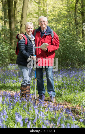 Portrait Of Senior Couple On Walk Through Bluebell Wood - Stock Photo