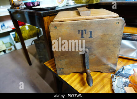 Old wooden butter churn - Stock Photo