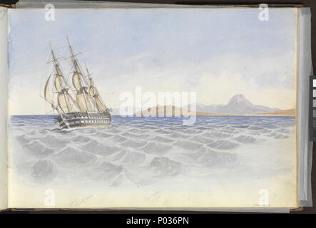.  English: (Recto) HMS 'Bellerophon' off Cape Carthage, 26 April 1852; (Verso) Fort St Elmo and the entrance to the Grand Harbour, Malta, 20 March 1852 No. 18 of 36 (PAI0849 - PAI0884). (Recto) Inscribed below the ship 'Bellerophon / Captn Lord......' and below the North African cape bearing the watchtower, centre, 'Cape Carthage'. It is also identified as 'Cape Carthage / Apr 26th 52' in the top right corner of the preceding page (PAI0865 verso). The ship is presumably the former 'Waterloo', 80-guns, renamed 'Bellerophon' in 1824 which was not sold for disposal until 1892. J.J. Colledge's st - Stock Photo