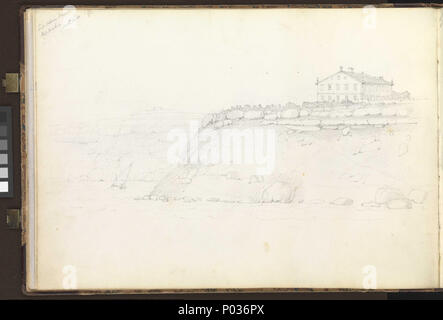 .  English: (Recto) HMS 'Ganges' off Fort Trinidad, Rosas Bay, south-eastern Spain, 9 October 1851; (Verso) Lord Nelson's House, Port Mahon, 12 November 1851 No. 12 of 36 (PAI0849 - PAI0884). (Recto) Inscribed top left, 'Fort Trinidad / Rosas Bay Oct 9th 1851' and along the bottom, 'Ganges', 'Capt Smith' and 'Fort Trinidad in Ruins - / once occupied by Sailors & Marines / against the French in 1809-'. The last note refers to Captain Lord Cochrane (then of of the 'Imperieuse' under Lord Collingwood), whose 12-day defence of the fort against overwhelming odds in fact took place in November 1808, - Stock Photo