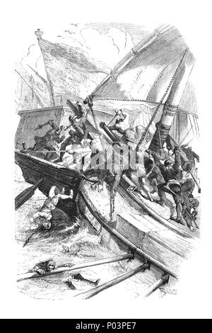 The Battle of Sluys, aka the Battle of l'Ecluse, was a sea battle fought on 24 June 1340 as one of the opening conflicts of the Hundred Years' War between England and France. The encounter happened during the reigns of Philip VI of France and Edward III of England, in front of the town of Newmarket or Sluis, on the inlet between West Flanders and Zeeland. During the battle Philip's navy was almost completely destroyed, giving the English fleet complete mastery over the channel. - Stock Photo