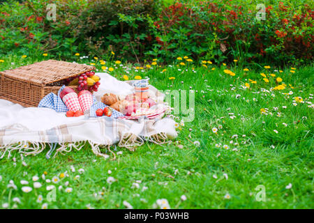 Picnic basket . Eating on green grass and plaid. Spring and vacation. Place for text. - Stock Photo