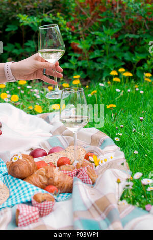Girl at picnic, on green grass in park. Happy weekend. Wine and fruit. Romantic dinner. Spring in the Netherlands. Place for text. - Stock Photo