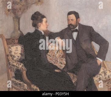 . Antal Berki and his Wife . 1902 99 Thorma Antal Berki and his Wife 1902 - Stock Photo