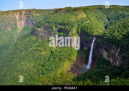 Nohkalikai Falls in cherrapunjee, Meghalaya - Stock Photo