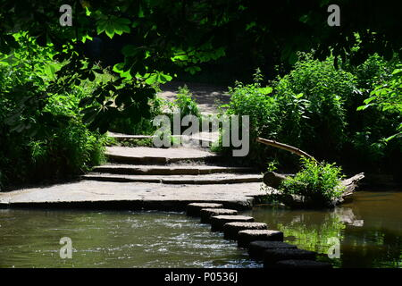 Stepping stones in the River Mole at Boxhill in Dorking, Surrey, - Stock Photo