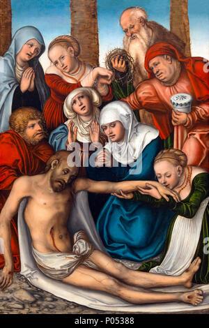 The Lamentation, Lucas Cranach the Elder, 1538, Museum of Fine Arts, Boston, Mass, USA, North America - Stock Photo