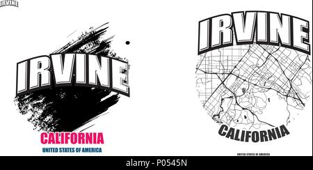 Irvine, California, logo design. Two in one vector arts. Big logo with vintage letters with nice colored background and one-color-version with map for - Stock Photo