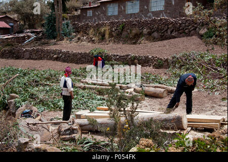 Workers building on their farmland on Taquile island, Lake Titicaca. Peru - Stock Photo