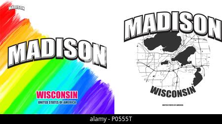 Madison, Wisconsin, logo design. Two in one vector arts. Big logo with vintage letters with nice colored background and one-color-version with map for - Stock Photo