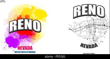 Reno, Nevada, logo design. Two in one vector arts. Big logo with vintage letters with nice colored background and one-color-version with map for every - Stock Photo