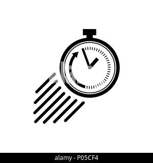 Stopwatch icon in flat style. Symbol of speed - Stock Photo