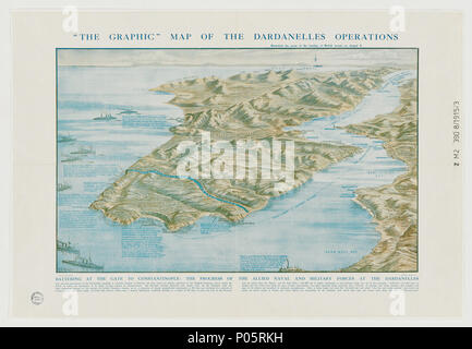 . English: Map of the Dardanelles drawn by G.F. Morrell, 1915. The map shows the Gallipoli peninsula and west coast of Turkey, and the location of front line troops and landings.  . 5 September 2012. G.F. Morrell 1 Graphic map of the Dardanelles - Stock Photo